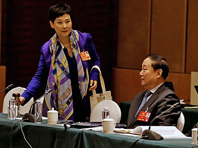 Li Xiaolin (L), daughter of former Chinese Premier Li Peng, attends the annual meeting of the government's political advisory body in Beijing, March 7, 2016. Credit: ImagineChina