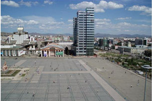 The headquarters of the Mongolian People's Revolutionary Party at Sukhbaatar square in Ulaanbaatar, July 2, 2008.