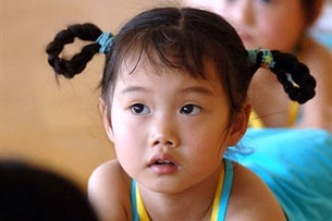 A young Chinese girl takes a break during a dance class in Hefei, in China's central Anhui province July 9, 2006.