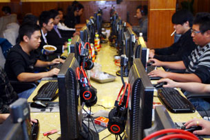 Chinese netizens at an Internet cafe in Zhejiang province, Nov. 2, 2012.