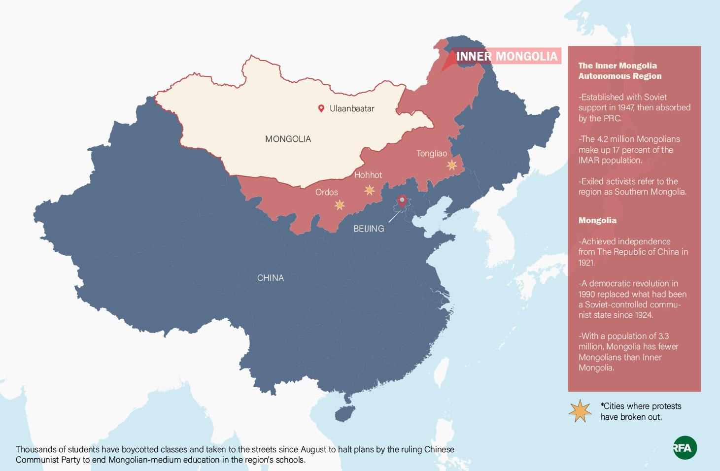 Mongolia and the Inner Mongolia Autonomous Region of China.