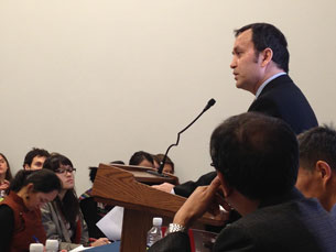Alim Seytoff speaks in Washington about China's ethnic policies, Jan. 31, 2013.