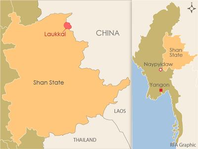 The map shows Laukkai, the regional capital of Kokang, in northeastern Shan state. Credit: RFA