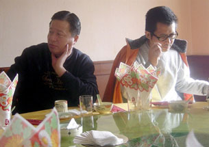 Guo Feixiong (R) during a gathering with Gao Zhisheng (L) in Beijing, Jan. 6, 2006.