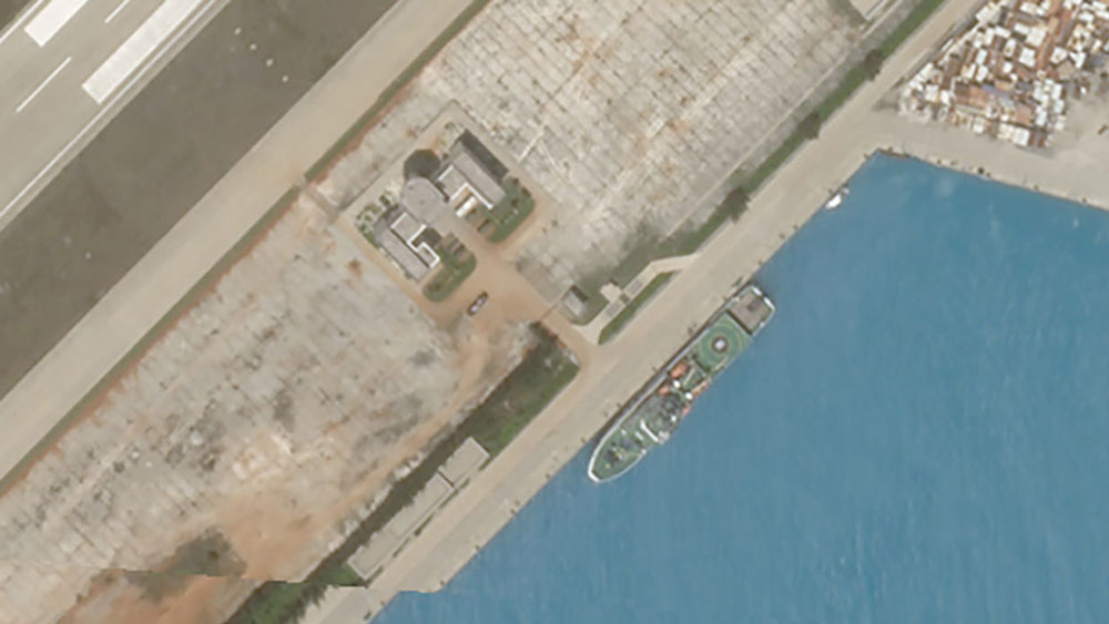 A closer-cropped view of the Feb. 23, 2020 satellite image of Fiery Cross Reef showing what appears to be Chinese rescue vessel Nan Hai Jiu 115, which ship-tracking software shows was at that location on the same day.