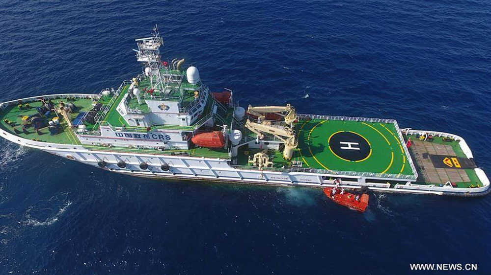 The Nan Hai Jiu 115 pictured on a drill in the South China Sea, published on the Facebook page of People's Daily, June 11, 2017.