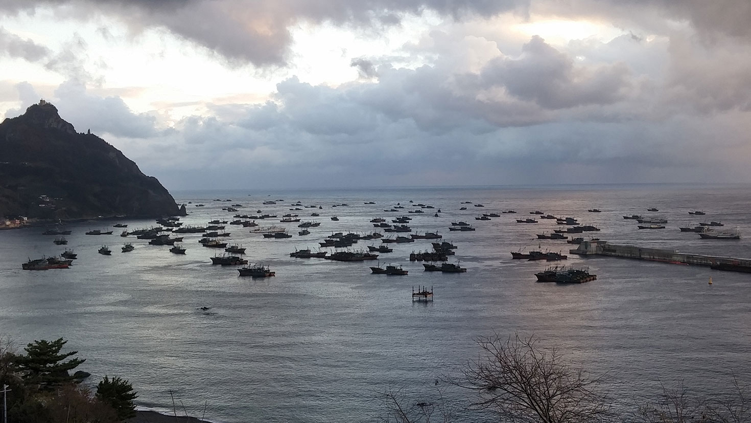 Chinese squid fishing boats take shelter in a harbor in South Korea's Ulleung County, in undated photo,