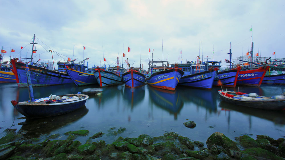Archive photo of fishing boats docked in Tho Quang port, Danang, Vietnam.