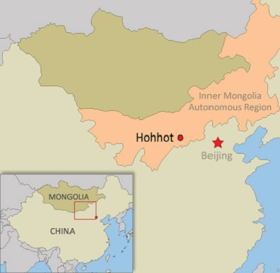 A map showing Inner Mongolia and Hohhot in China. Credit: RFA.
