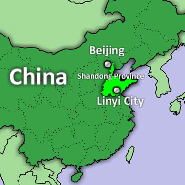 A map showing Linyi city in China's eastern Shandong province. Credit: RFA