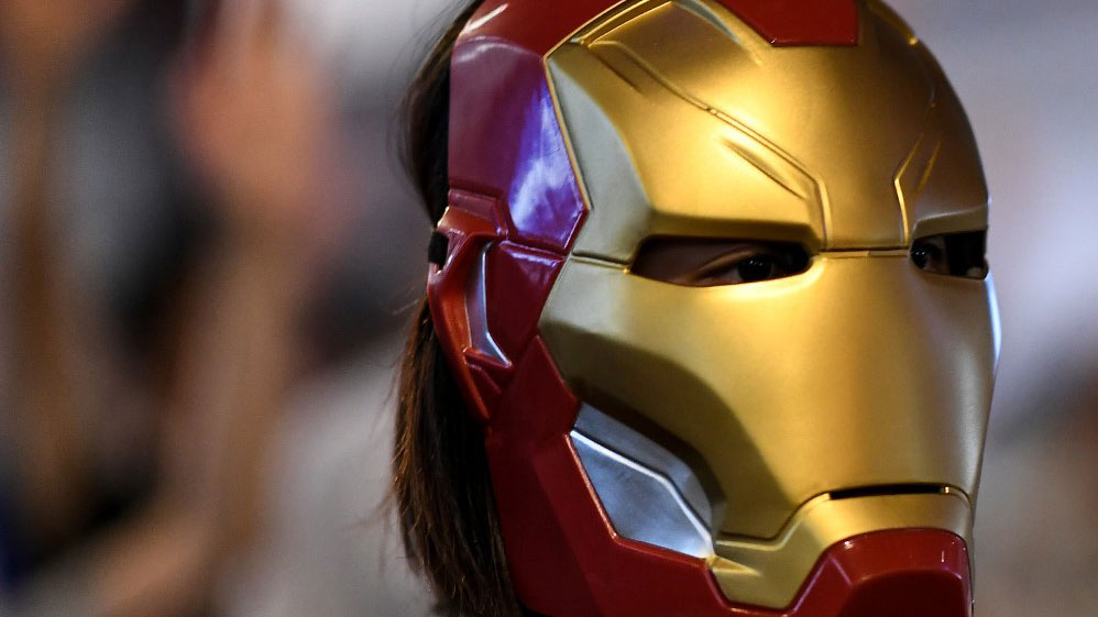 A protester looks on while wearing an 'Iron Man' mask at Admiralty area in Hong Kong as people hit the streets after the government announced a ban on facemasks under colonial-era emergency powers, Oct. 4, 2019.  (Photo: AFP)