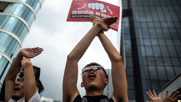 Hong Kong witnessed its largest street protest in at least 15 years, as crowds massed against plans to allow extraditions to China, June 9, 2019.  (AFP Photo)