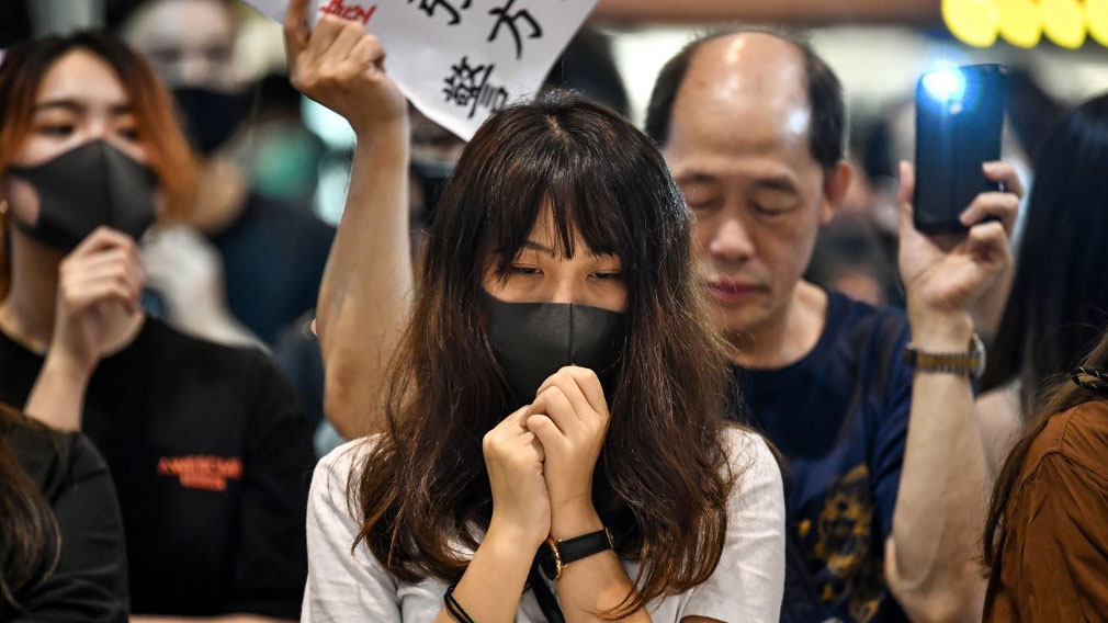 Protesters gather in a shopping mall at Ma On Shan in the New Territories of Hong Kong on Oct. 9, 2019. (Photo: AFP)