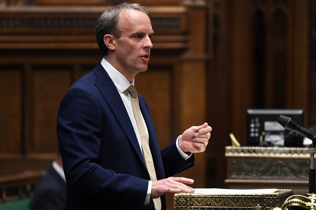 Britain's Foreign Secretary Dominic Raab makes a statement offering Hong Kong residents a broader path to citizenship in response to China's sweeping new security law for the former UK territory, July 1, 2020.
