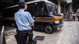 A correctional services department van leaves the High Court in Hong Kong after Tong Ying-kit was convicted of terrorism and inciting secession in the first trial conducted under a national security law imposed by China, July 27, 2021..