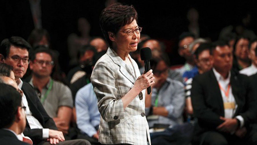 Embattled Hong Kong leader Carrie Lam meets with randomly selected members of public for a dialogue on the city's political crisis in Queen Elizabeth Stadium, Sept. 26, 2019.  (Photo: AP)