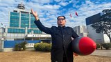 Kim Jong-Un impersonator Lee Ho-hung, also known as Howard X, poses in Hong Kong with a toy missile in a Jan. 20, 2021 photo.
