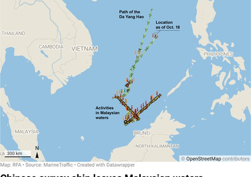 Chinese survey vessel leaves Malaysian waters 2 weeks after protest