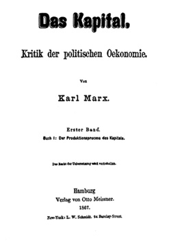 Title page of <em>Capital</em> in its German version. Photo: Wikimedia Commons.