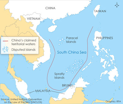 The Philippines, China, Brunei, Malaysia, Taiwan and Vietnam, all maintain various claims to parts of the South China Sea. Credit: RFA