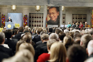 Chairman of the Nobel Committee Thorbjoern Jagland speaks during the ceremony for Liu Xiaobo in Oslo, Dec. 10, 2010. AFP