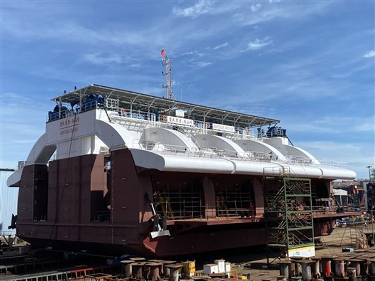 "A 500kW wave energy generator, called ""Zhoushan,"" after construction at a shipyard on June 30, 2020. It is owned by the Guangzhou Institute of Energy Conversion which focuses on using wave power to generate electricity. Credit: Sciencenet.cn"