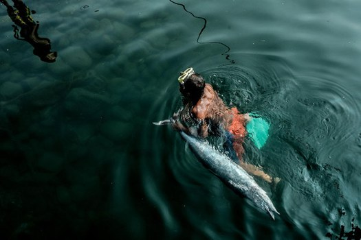A man tows his catch of a Spanish mackerel as he swims to shore in Masinloc, Philippines, May 28, 2021. Credit: BenarNews
