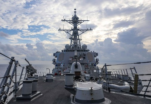 The USS Benfold sails through the South China Sea while conducting a freedom of navigation mission, July 12, 2021. Credit: U.S. Navy