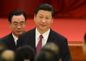 China's leader-in-waiting Xi Jinping (r) attends the 63rd National Day reception at the Great Hall of the People in Beijing, Sept. 29, 2012.