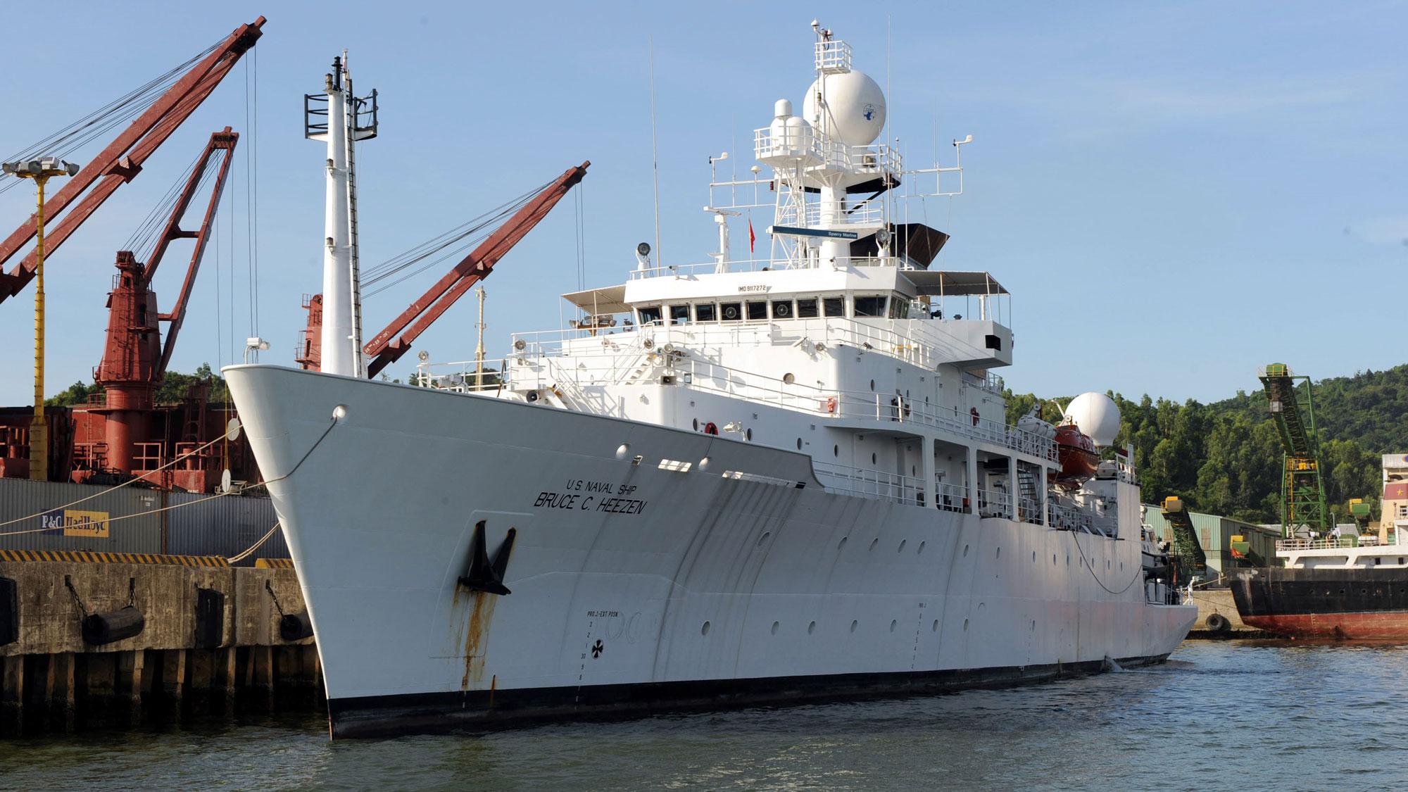 File photo of US Navy oceanographic survey ship USNS Bruce C. Heezen anchored at Da Nang, Vietnam.