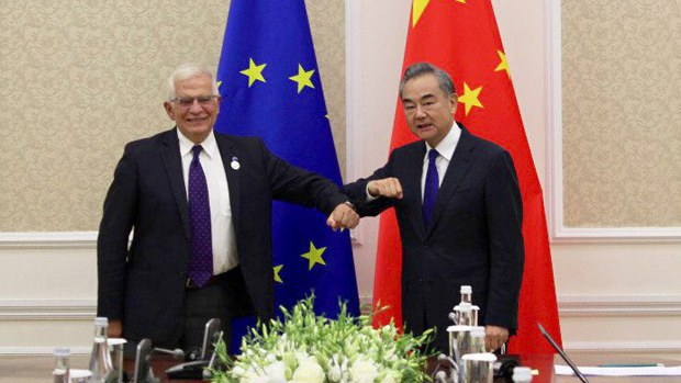 Chinese foreign minister Wang Yi meets with Josep Borrell, EU head of foreign and security policy, July 16, 2021.