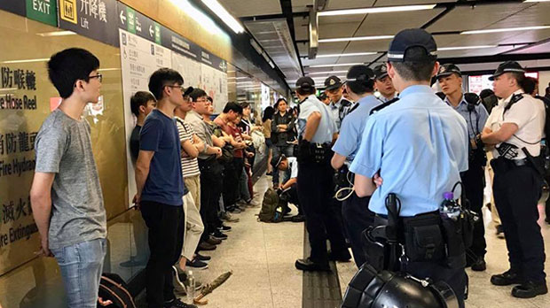 Police in Central Hong Kong Stop, Search Subway Passengers