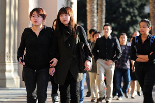 USC students attend a memorial service in Los Angeles for two Chinese graduate students, April 18, 2012.