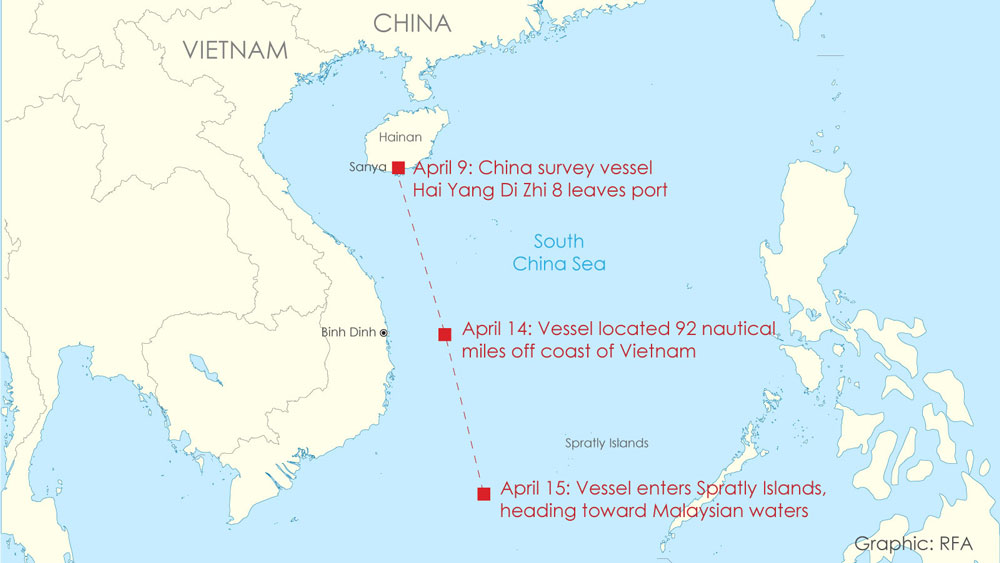 Tracking China's Hai Yang Di Zhi 8 survey vessel travels since it left port at Sanya on Hainan Island, and headed into the South China Sea, from April 9-15, 2020.