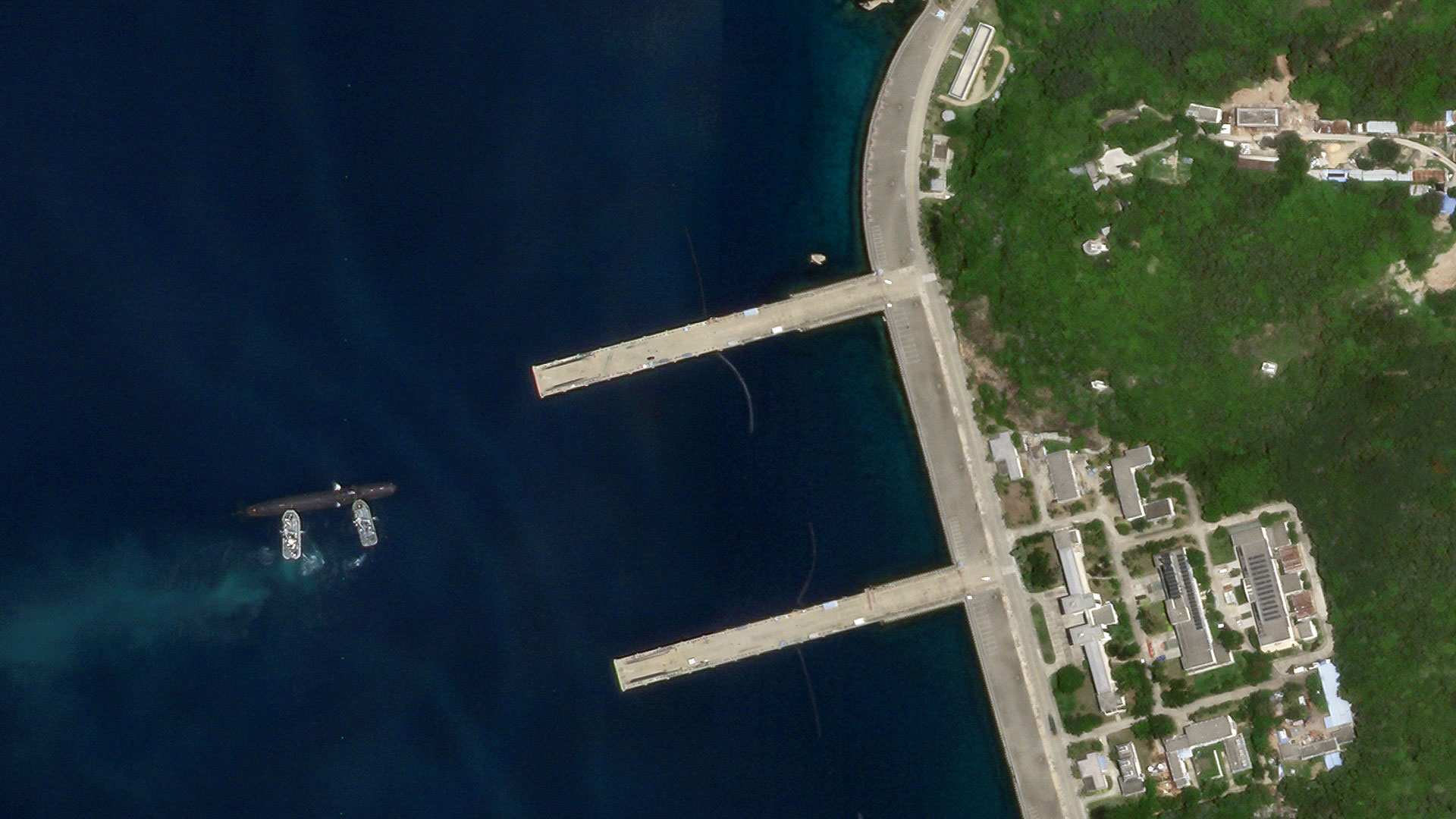 An image from Aug. 19 shows the Type 093 sub getting pushed towards one of Yulin's piers. China has built-up its submarine force in recent years and greatly outclasses other claimants in the South China Sea, but still remains at a disadvantage to the United States.
