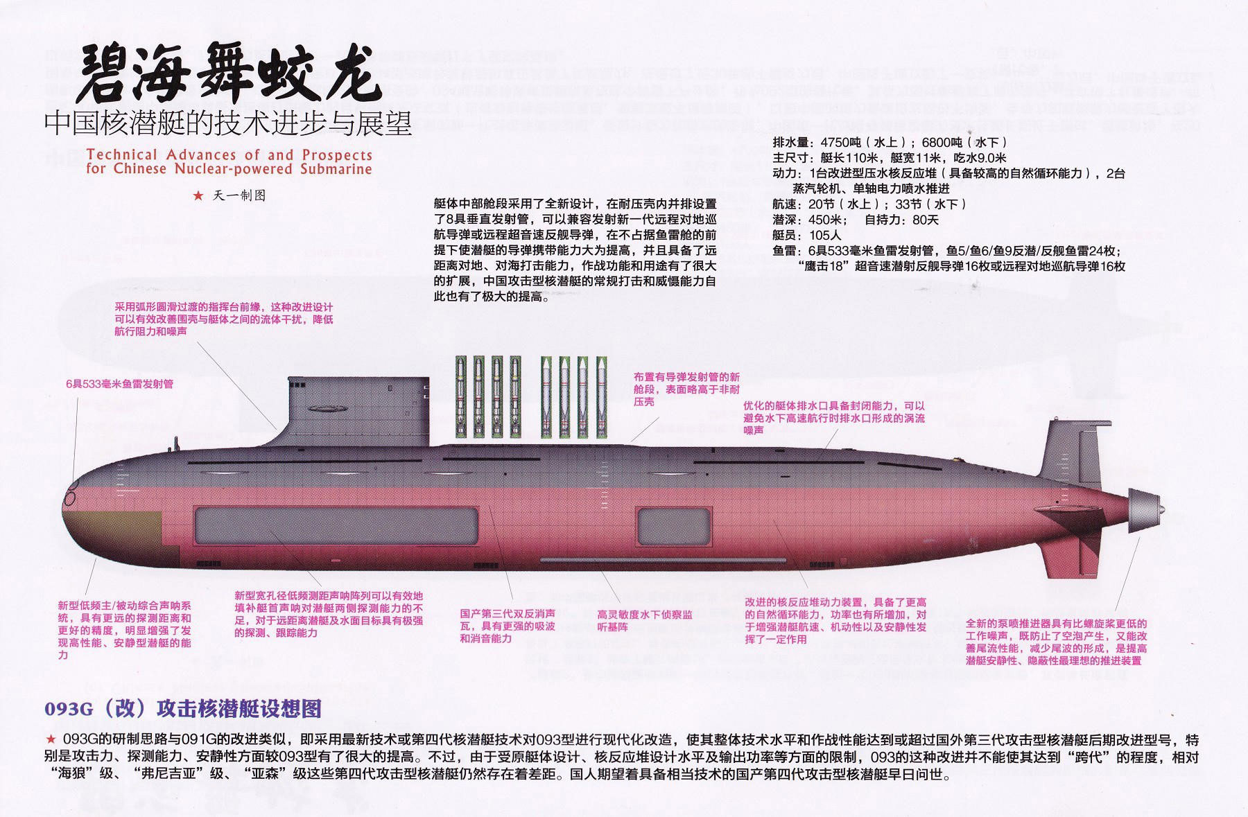 """A diagram of a variant of the Type 093 submarine from the Chinese state-affiliated magazine """"Shipborne Weapons (舰载武器)"""""""