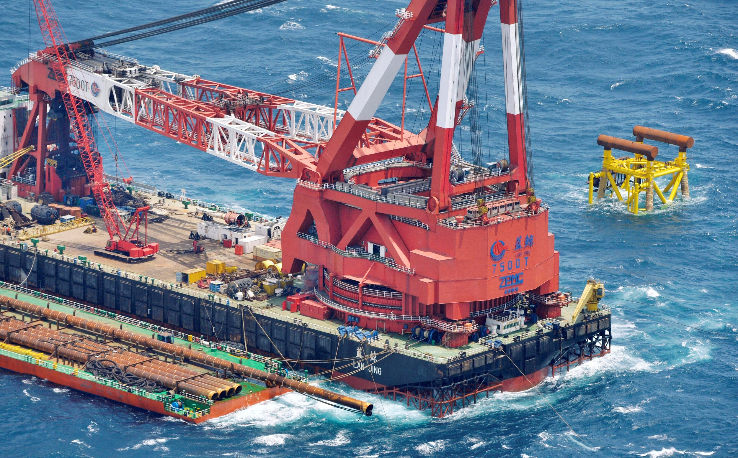 A Chinese rig meant for natural gas exploration, near the median line between Japan and China in the East China Sea, shown in an aerial picture taken July 5, 2013.