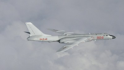 A Chinese H-6 bomber flies over the East China Sea in a file picture taken by Japan Air Self-Defence Force and released on July 23, 2019.