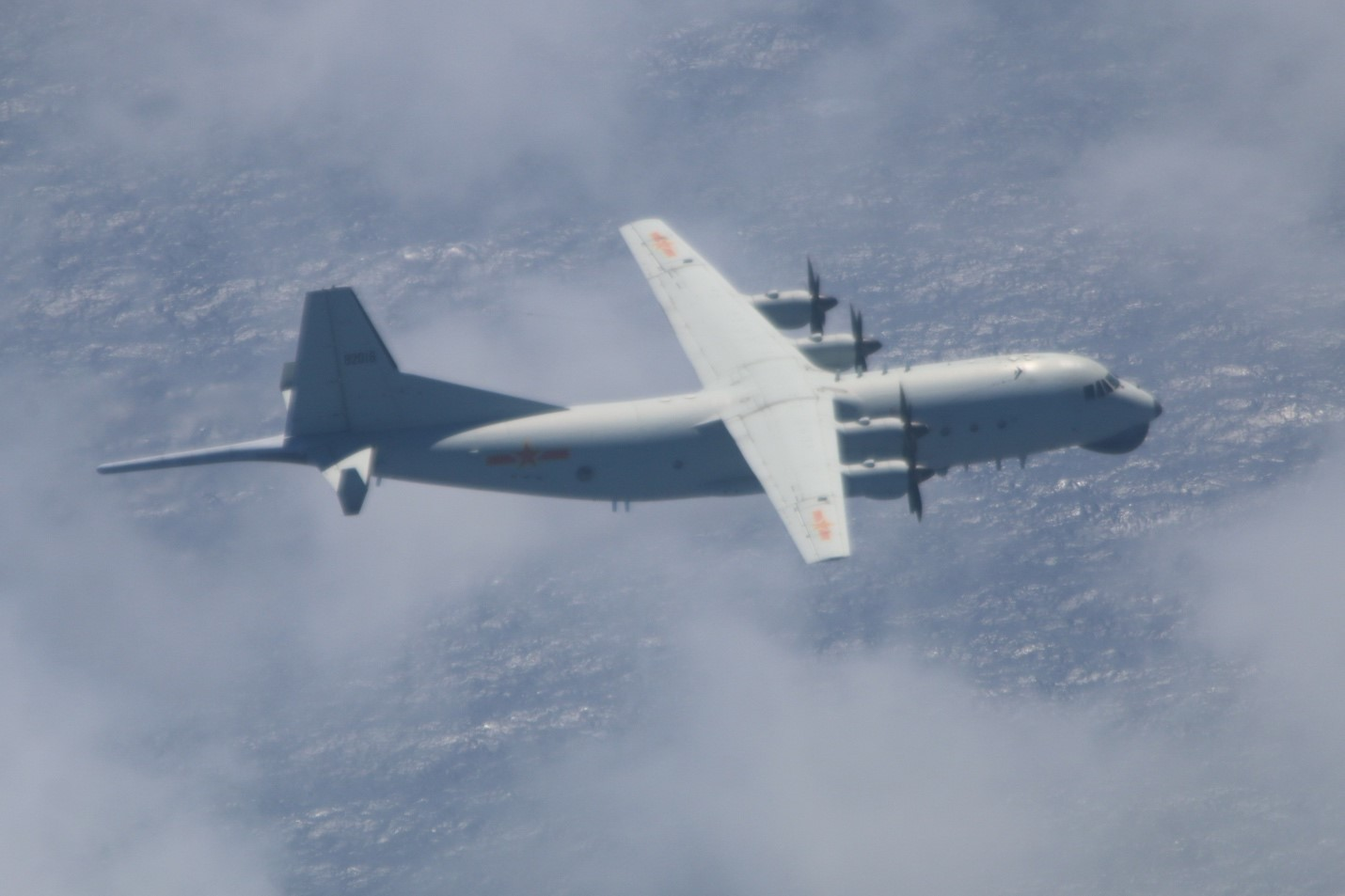 This Y-8 antisubmarine warfare plane belonging to the People's Liberation Army Air Force was spotted flying near Pratas island on Oct. 11, 2020.