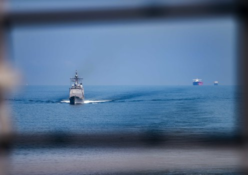 Guided-missile cruiser USS Lake Champlain pictured on Oct. 8, 2021, as it transited the South China Sea with the aircraft carrier USS Carl Vinson during a bilateral exercise with the Royal Australian Navy.