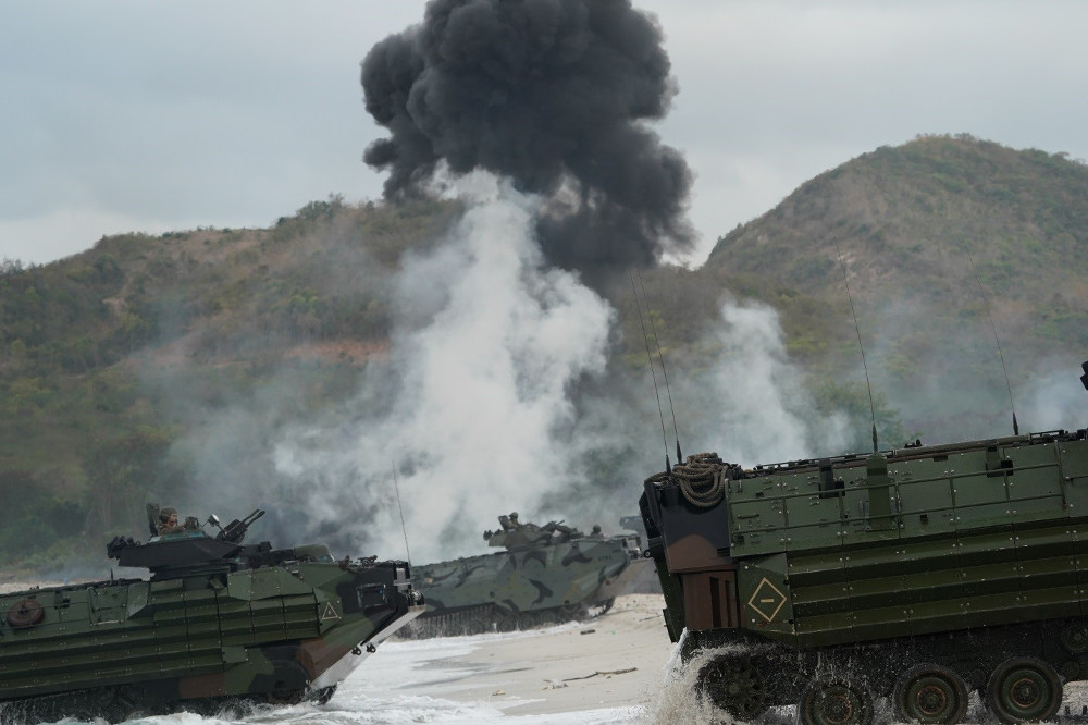 U.S. and Thai amphibious vehicles land at Had Yao beach in Chanthaburi province as part of a training exercise during the Cobra Gold program, Feb. 28, 2020.