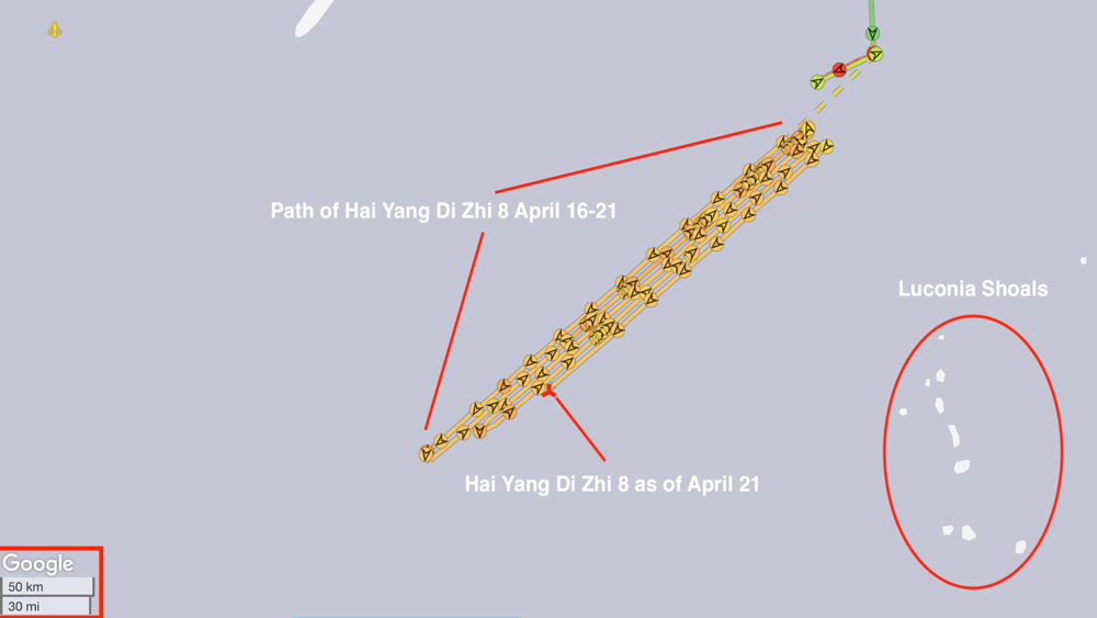 A graphical representation of the path of the Chinese survey ship Hai Yang Di Zhi 8 since it arrived off the coast of Malaysia April 16.