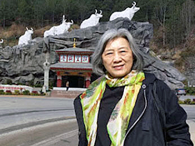 Gao Yu visits a tourist site during her forced 'vacation' in southwestern China's Yunnan province, March 2016. Photo courtesy of Wang Lihong