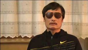 In a screen grab from YouTube, Chen Guangcheng speaks from an undisclosed location after his escape from house arrest.