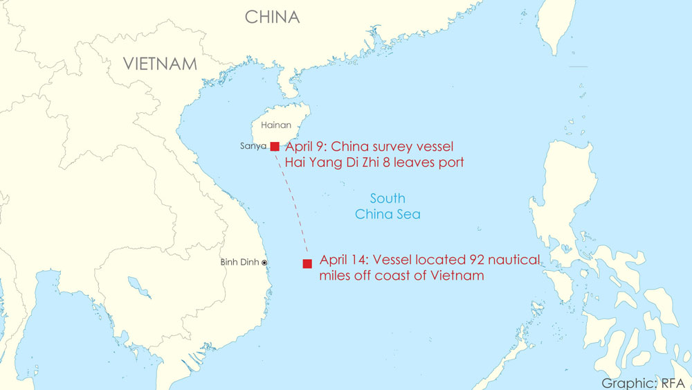Tracking China's Hai Yang Di Zhi 8 survey vessel travels since it left port at Sanya on Hainan Island, April 9, 2020.