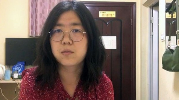 Blogger Zhang Zhan, detained after reporting on the Wuhan coronavirus, in a screenshot from a video. Credit: Zhang Zhan
