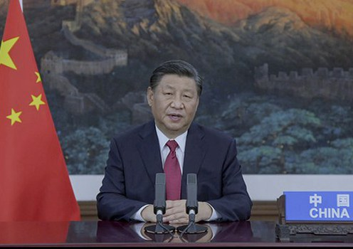 Chinese leader Xi Jinping addresses the UN General Assembly by video from Beijing, Sept. 21, 2021.