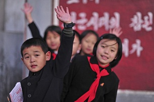 Schoolchildren in Pyongyang, Nov. 17, 2008.