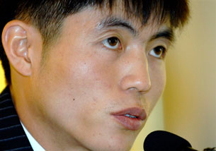SEOUL, South Korea: Shin Dong Hyuk, a North Korean defector, speaks at a press conference, Oct. 29, 2007. AFP