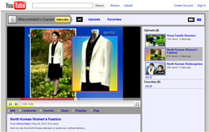 """A screen shot shows a black skirt and white jacket set modeled on """"Spring Fashion for Women's Formal Wear."""" Credit: RFA"""